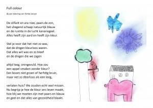 full colour tekening met gedicht pg